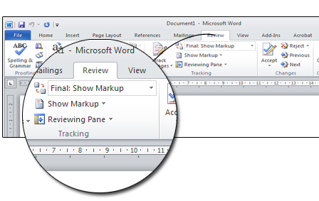 View a proofread document in Microsoft Word
